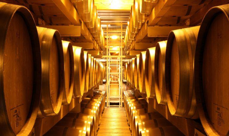 the wine barrel cellar at Jordan Winery
