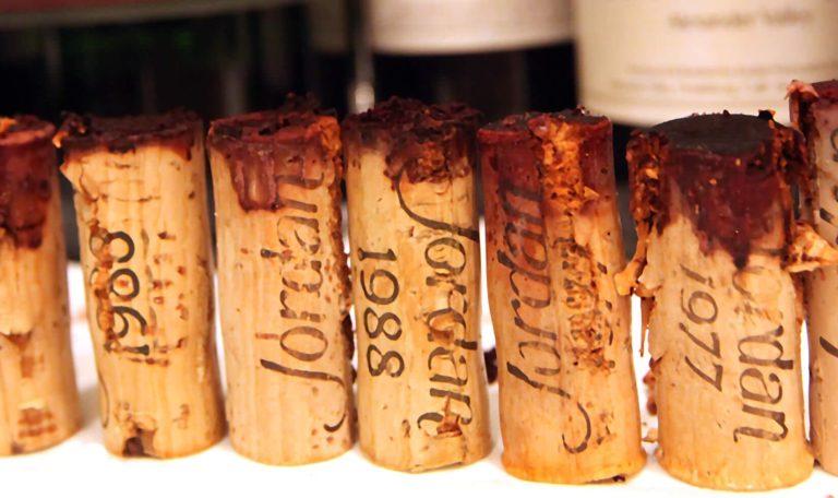 old wine corks, Jordan cabernet sauvignon wine corks line