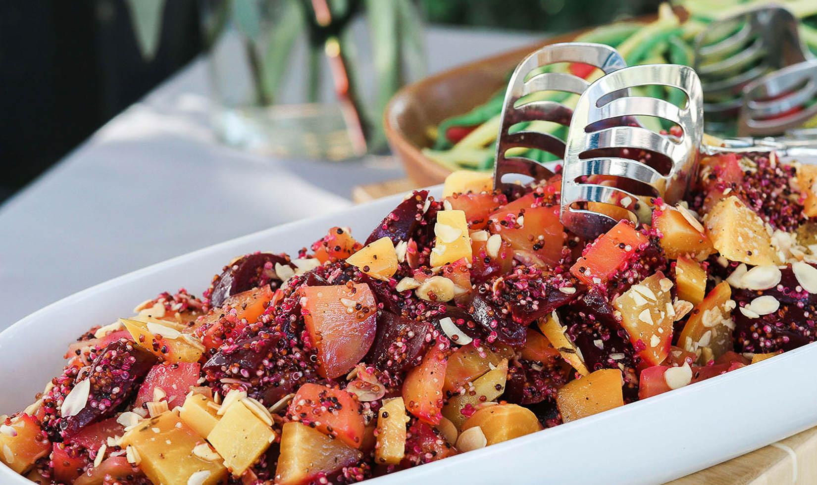 Serving dish full of beet salad